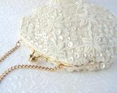 Ivory Satin Wedding Purse Vintage Bridal Handbag Floral Beaded Clutch AB Sequin Evening Bag Hand Made Hong Kong Kiss Clasp Gold Chain Strap