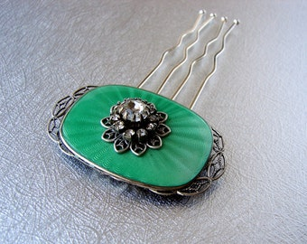 Bright Green Guilloche Enamel Hair Comb 1920s Gatsby Style Bridal Headpiece Rhinestone Jeweled Wedding Hairpiece Vintage Jewelry Accessory