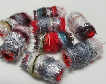 Color theme and form are so highly overrated!  fiber beads, dread beads, dread sleeve, macrame bead, textile bead, mixed-media beading, soft