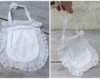 Vintage Antique Victorian  Edwardian white cotton embroidered purse clutch