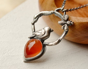 Organic Style Silver Necklace, Silver Bird Pendant, Carnelian Necklace, Nature Lovers Gift, Boho Jewelry, One of a Kind Artisan Jewelry