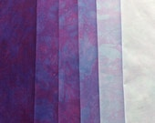 Clear Blue VIOLET shades - hand dyed Fabric - 6 pc Fat Quarter Gradation Bundle - Tuscan Rose CBV631