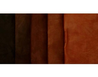 TUSCAN ORANGE Shades - hand dyed Fabric - 5 pc Fat Quarter Gradation Bundle - Tuscan Rose MOBK461