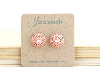 Vintage Style Post Earrings - Orange and White Patterned Stud Earrings - Tangerine Orange - Mosaic Earrings - Round Earrings