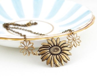 Sunflower Necklace - Statement Necklace - Brass Sunflower - Etched Brass Floral Necklace - Metal Necklace - Girlfriend Gift - Gift For Woman