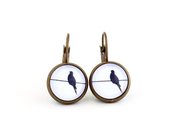 Bird Earrings - Brass Leverback Earrings - Brass Post Earrings - Black and White - Gift For Teen Girl - Bird Jewelry - Gift For Woman