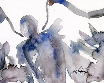 Calling All Angels No. 26 - Original Minimalist Abstract Watercolor Angel Painting by Kathy Morton Stanion EBSQ