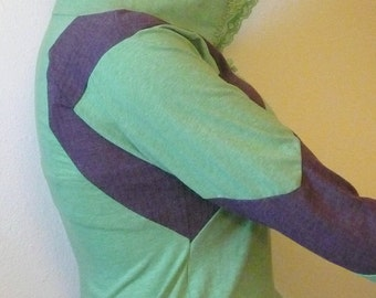 Purple and Green Racer Patches Long Sleeved Hoodie