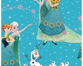 Disney Frozen, Sisters and Olaf Fever Scenic  Cotton Fabric, Yard