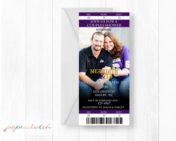 Ticket Stub Invitation - Save the Date - Sports Team - Football Couples Shower - House Divided -  Bridal Shower - Digital Invitation