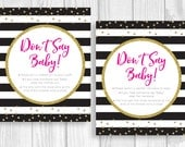 Don't Say Baby! 8x10 Printable Clothes Pin or Pacifier Necklace Shower Game Black White Stripes - Hot Pink and Gold Glitter Polka Dots