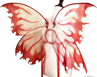 Morrigan No. 24 - Large Organza Fairy Wings in Red and White - Convertable Strapless