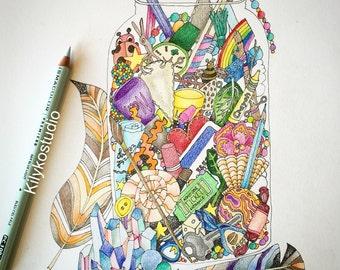 junk jar adult coloring page instant digital download pdf
