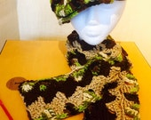 Newsboy Hat & Tons of Triangles Scarf set - Ready to Wear - Chocolate, Tan and camouflage