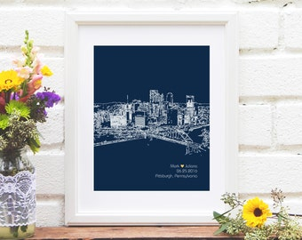 Pittsburgh Skyline, Personalized Wedding Gift, Custom City Skyline Wall Decor, First Year Anniversary Gift Paper Engagement Gift for Her