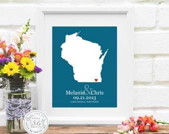 State Map Wedding Gift, Wisconsin Wedding, Personalized Wisconsin Map, Custom Bridal Shower Gift, Wisconsin Engagement - Art Print
