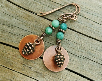 Rainforest Jasper and Antiqued Copper pine cones wire wrapped dangle earrings