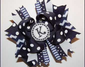 Uniform Bow - School Bow - Monogram Bow - Personalized Bow - Headband Bow - Custom Embroidered Bow