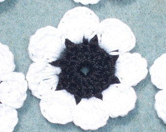 16 handmade black and white cotton thread crochet applique flowers --  2480