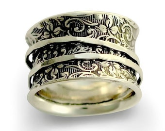 Silver Wedding Band, Boho jewelry, Spinners Ring, Silver Filigree Ring, Wide Silver Band, simple Silver Ring - A way of life 2. R1209AS