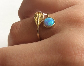 Solid Gold engagement ring, Adjustable ring, Thin ring, leaf ring, opal ring, birthstone ring, engagement ring - Gone with the wind RG2062-1