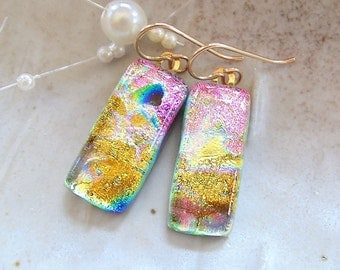 Dichroic Glass Earrings, Glass Jewelry, Dangle, Gold Filled, Gold, Pink, Black, A11