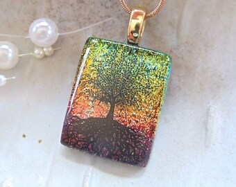Tree of Life Necklace, Pink Necklace, Gold, Dichroic Pendant, Fused Glass Jewelry, Enamel, Black, Necklace Included, A7