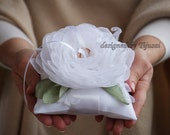 White Wedding ring pillow with flower, embroiderings and leaves- pillow, wedding ring pillow , wedding pillow