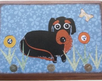 Dog Leash Holder, Hanger, Hook, Key Holder, Hanger, Hook, Wall Hanging Plaque, Nursery Baby's Room,Dachshund Dog, Puppy, 5x7, READY TO SHIP