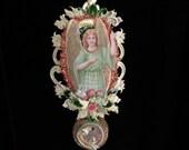 Victorian Hawaiian Christmas Angel Ornament  OOAK Beautiful Color , Detail