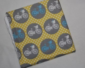 Yellow and Gray Whimsical Wheels Dots Minky Security Blanket Lovey