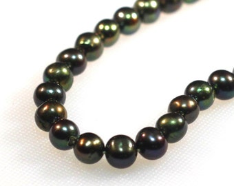7 mm round green freshwater pearls