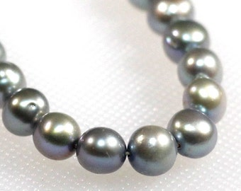 6 mm silver blue freshwater pearls