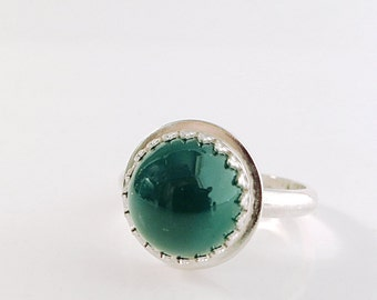 Evergreen, Green Onyx ring, Sterling Silver, gemstone ring