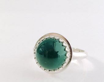 Evergreen, Green Onyx ring, Sterling Silver, gemstone ring