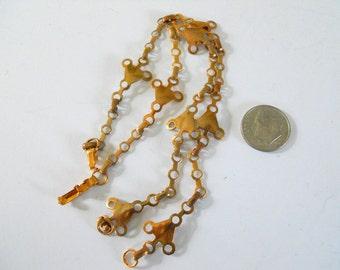 Pair Vintage Brass Industrial Link Chain Bracelets