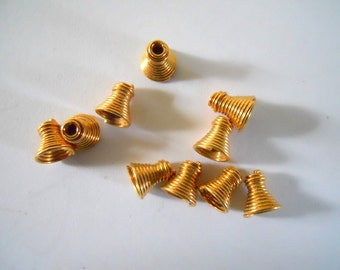 Vintage Industrial Coiled Brass Small Bead Cap Lot