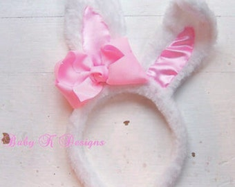 Plush Furry Easter Bunny Ears Headband Detachable Pink Bow Hair Clip / #babykdesigns Poseable Bunny Ears and Baby Bow #Easter