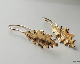 Golden hoop earrings - Nugold leaf earings, Dangle and drop earrings, Gift for Her
