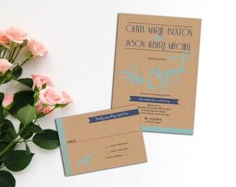 Modern Wedding Invitation Set, Modern Elopement Invitation, Wedding response cards, Flourish Font Wedding Invitation,Simple Wedding Invite