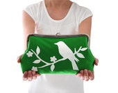 Green clutch bag, Small green handbag, Green clutch purse, Bird clutch purse, Screen printed handbag, Handmade handbag, Green wedding clutch