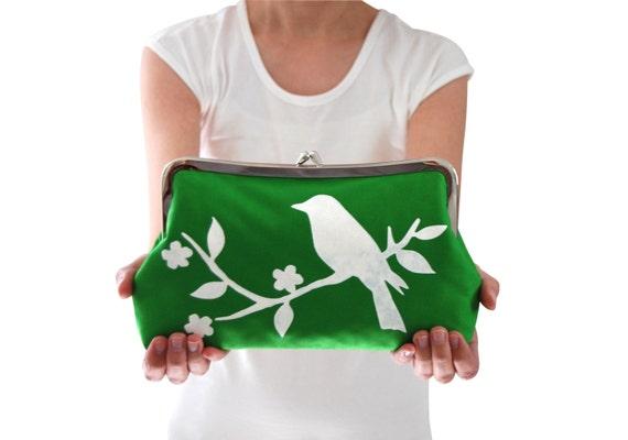 Green clutch bag, Small green handbag, Green clutch purse, Bird clutch purse, Screen printed handbag, Handmade handbag, Green wedding clutch