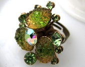 Pear Cider Ring - 1960's vintage olive green and iridescent glass cluster on adjustable ring - Free Shipping to USA