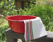 Large Red Enamelware Basin/ Wash Tub - Rustic Decor - Garden Art