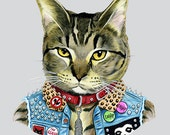 Punk Cat art print  - Pet Portrait - Animals in Clothes - Animal Art - Punk Rock - Tabby Cat - Ryan Berkley Illustration 8x10