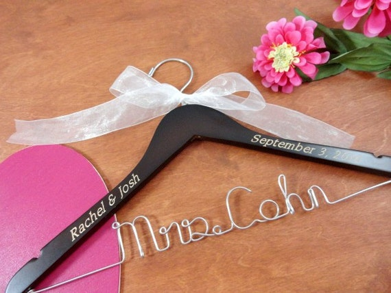 Items similar to wedding dress hanger personalize engraved for Wedding dress coat hanger