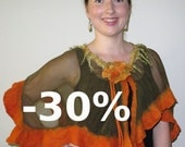 JANUARY SALES Green and Orange Wavy Short Nuno Felted Poncho Capelet Summer Poncho with Flower Closure