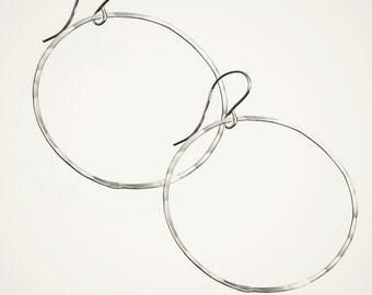 basic hoop earrings sterling silver hoop earrings lightweight earrings classic hoops silver earrings handmade hammered hoop jewelry