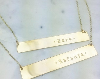 Long Bar custom silver rose gold necklace