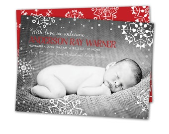 Christmas birth announcement, Snowflakes baby announcement, Christmas card and baby announcement combined, printable birth announcement